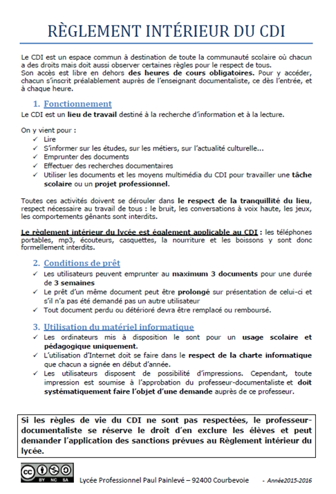 Le r glement du cdi lyc e paul painlev courbevoie for Reglement interieur entreprise pdf